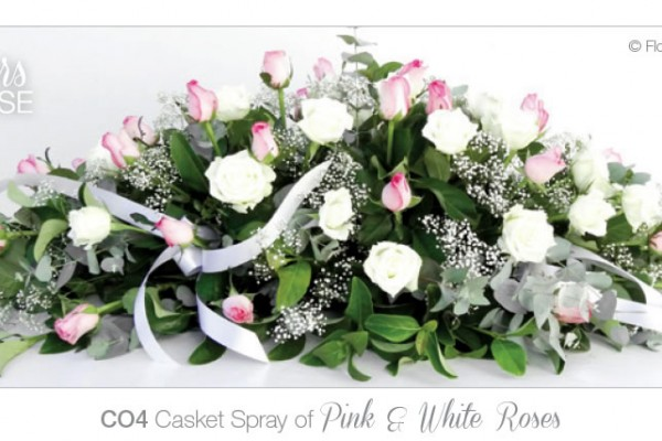 Casket spray of pink and white roses