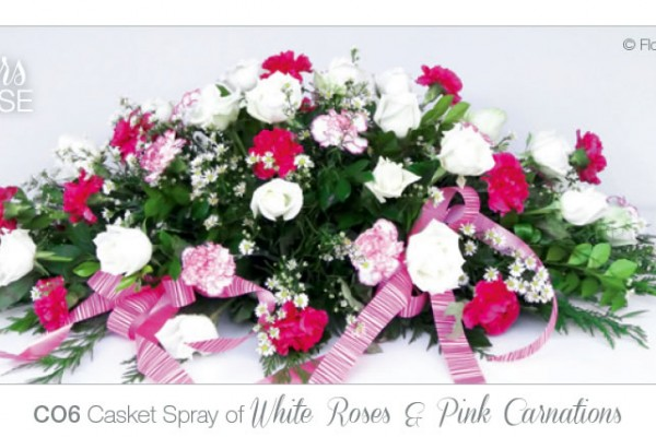 Casket Spray white roses pink carnations