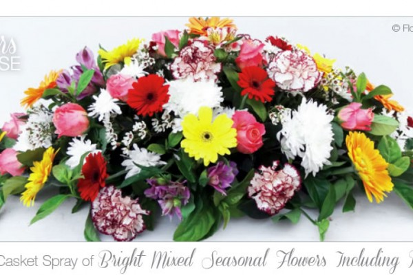 Bright mixed seasonal flowers including roses