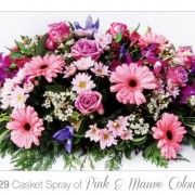 casket spray pink and mauve colours