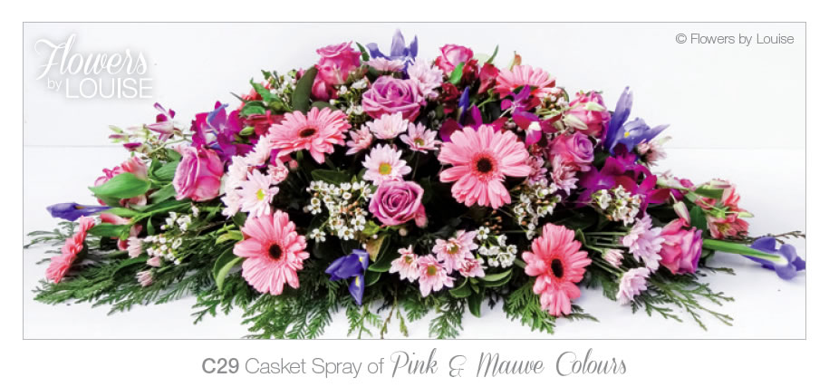 Casket Spray of Pink and Mauve Colours