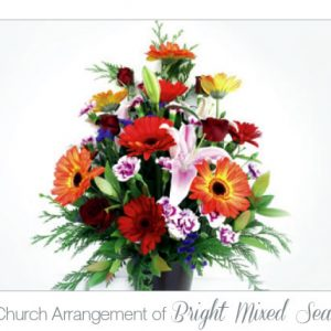 Matching Church Arrangement of Bright Mixed Seasonal Flowers