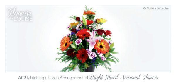 Matching Church Arrangement of Bright Mixed Seasonal Flowers