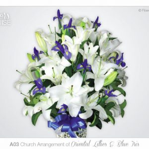 Church Arrangement of Oriental Lillies & Blue Iris