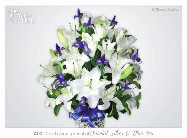 Church Arrangement of Oriental Lillies & Blue Iris