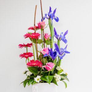 Ceramic Modern Arrangement Iris + Gerberas + Roses + Chrysanthemums
