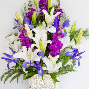 Woven Basket Oriental Lily + Blue Iris + Stocks