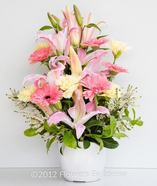 Ceramic Pot of Spring Flowers Oriental Lilys + Carnations + Gerberas