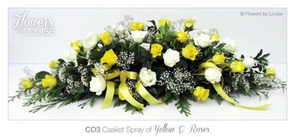 Casket Spray of Yellow & Roses