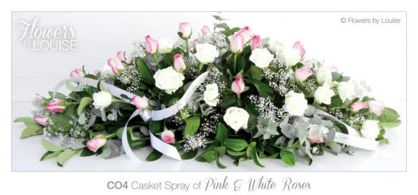 Casket Spray of Pink & White Roses