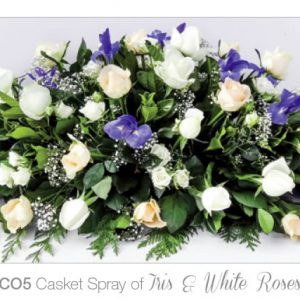 Casket Spray of Iris & White Roses