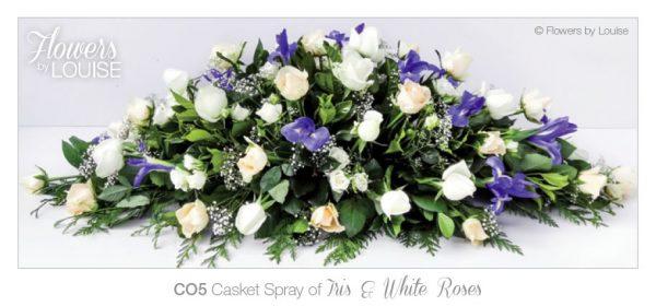 Casket Spray of Iris & White Roses