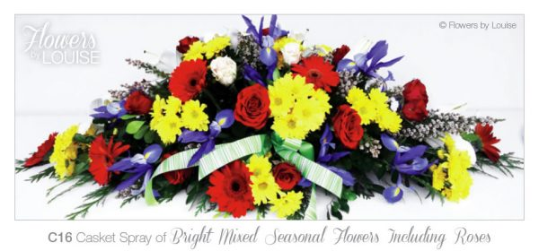 Casket Spray of Bright Mixed Seasonal Flowers Including Roses