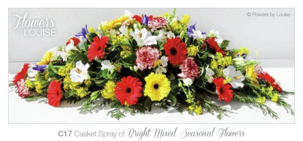 Casket Spray of Bright Mixed Seasonal Flowers