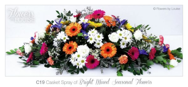 Casket Spray of Bright Mixed Seasonal Flowers