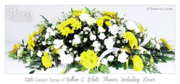 Casket Spray of Yellow & White Flowers Including Roses