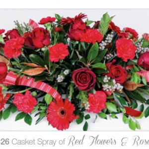 Casket Spray of Red Flowers & Roses