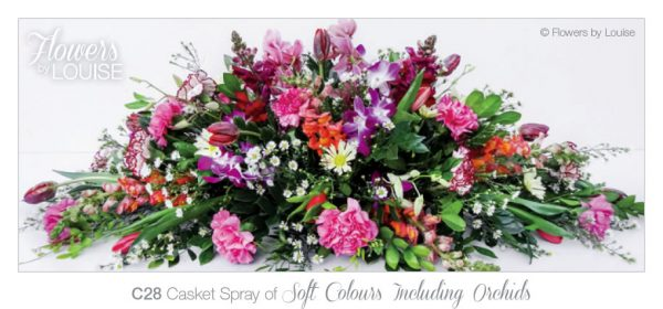 Casket Spray of Soft Colours Including Orchids