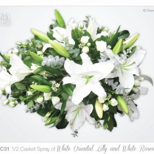 1/2 Casket Spray of White Oriental Lily and White Roses