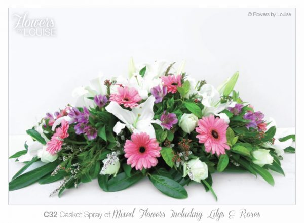 Casket Spray of Mixed Flowers Including Lilys & Roses
