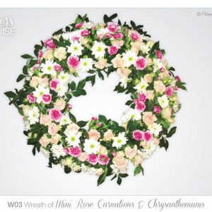 Wreath of Mini Rose Carnations & Chrysanthemums
