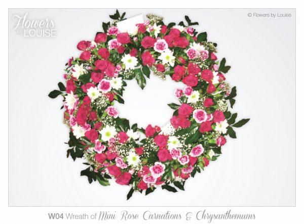 Wreath of Mini Rose Carnations & Chrysanthemums
