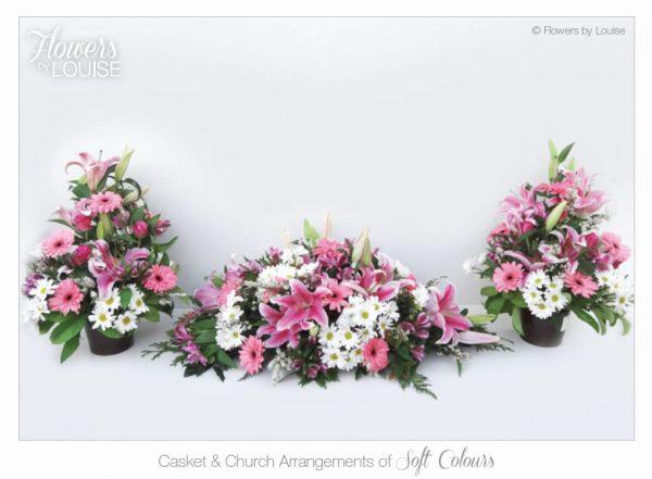 Casket & Church Arrangements of Soft Colours