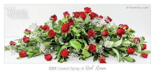 Casket Spray of Red Roses