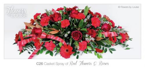 Casket Spray of Red Flowers & Roses