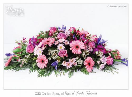 Casket Spray of Mixed Pink Flowers