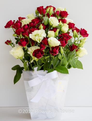 Bag of Red Roses & Lisianthus Red Roses + Lisianthus